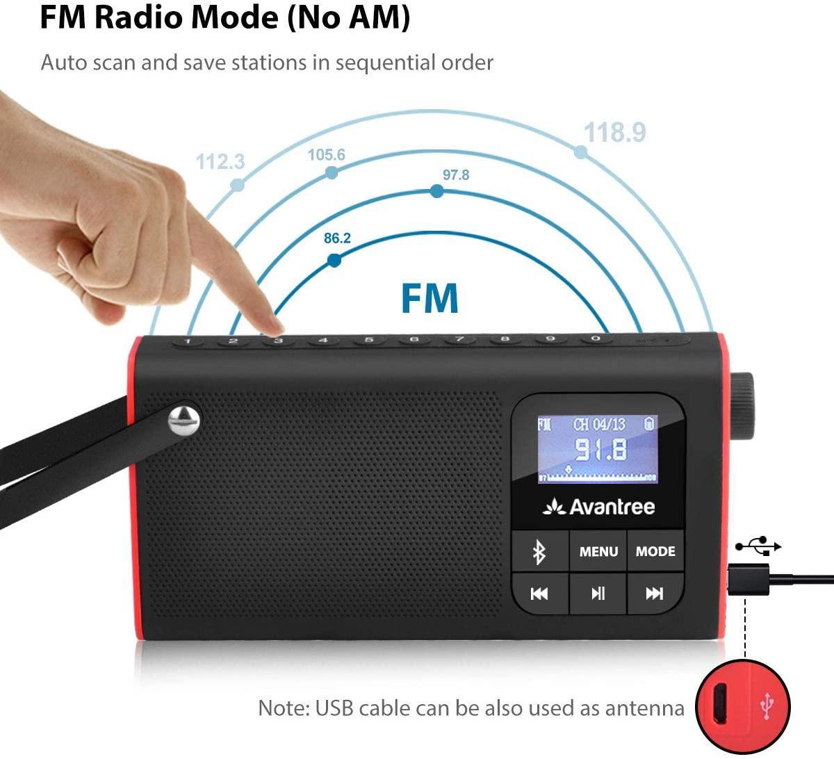 Avantree radio fm lecteur audio micro sd 1