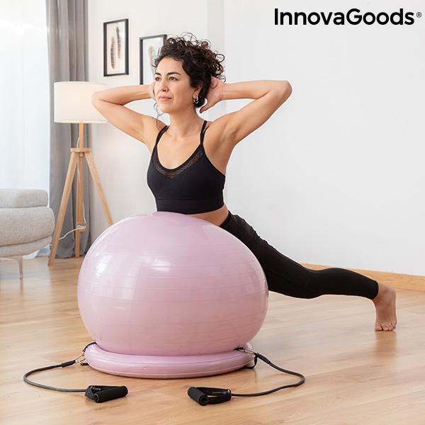 Ballon de yoga avec anneau de stabilite et bandes de resistance ashtanball innovagoods 119434