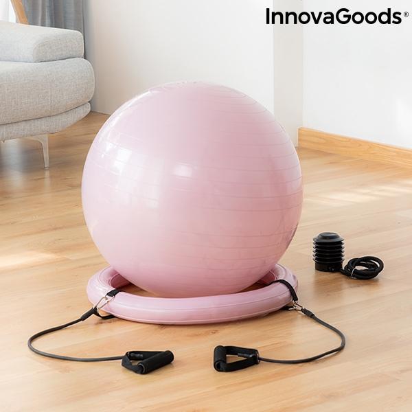 Ballon de yoga avec anneau de stabilite et bandes de resistance ashtanball innovagoods 1194342