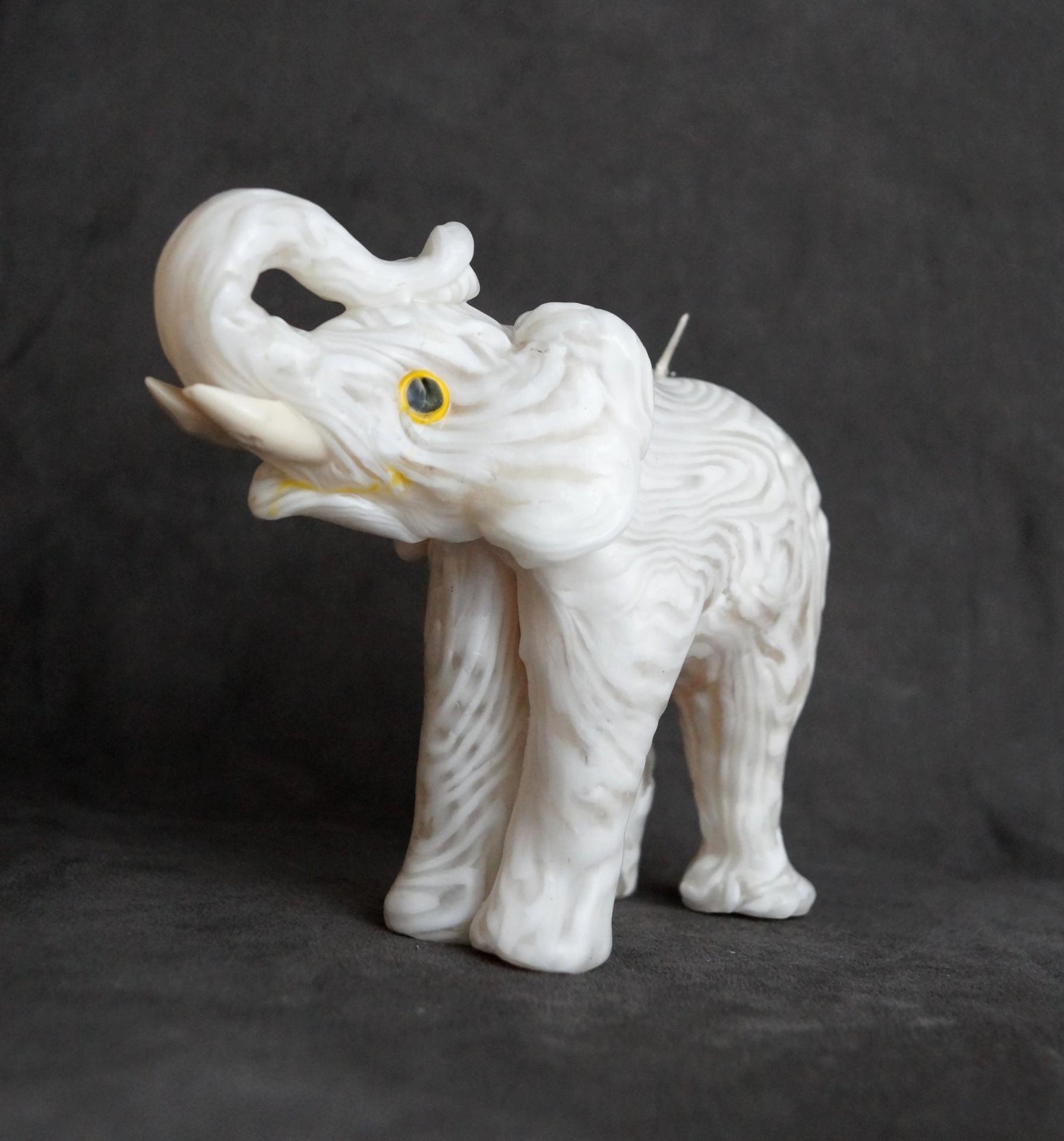 Bougie artisanales elephant blanc 1
