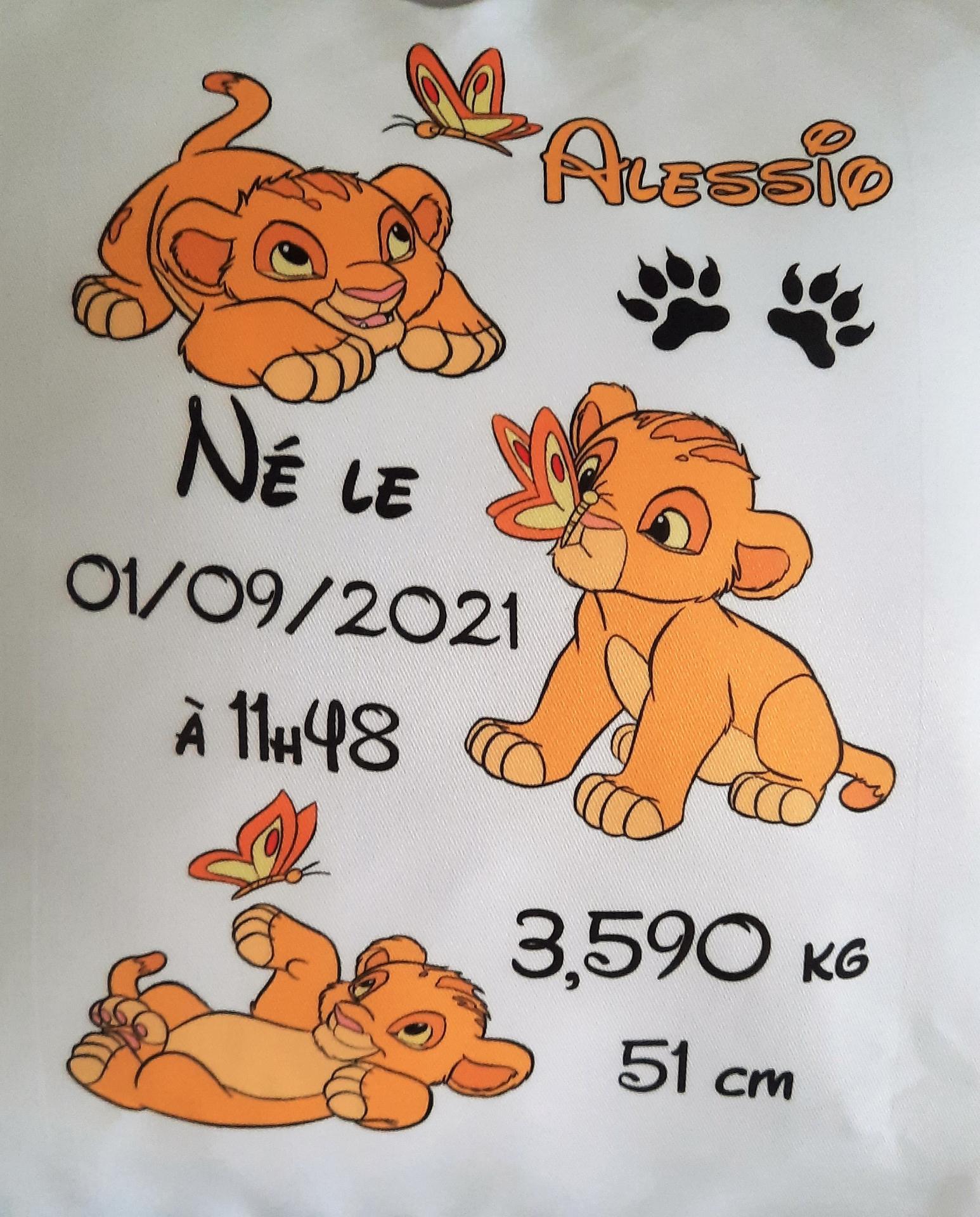 Coussin de naissance a personnalise roi lion 3