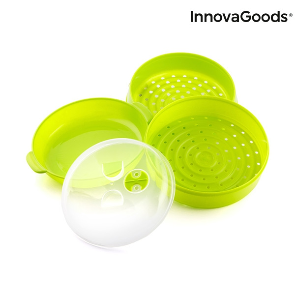 Cuiseur vapeur double pour micro ondes fresh innovagoods4