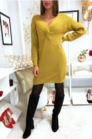 Jolie robe pull moutarde croise au buste3