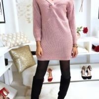 Jolie robe pull rose croise au buste1