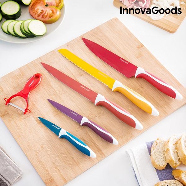 Juego de cuchillos ceramicos y pelador innovagoods 6 piezas 1