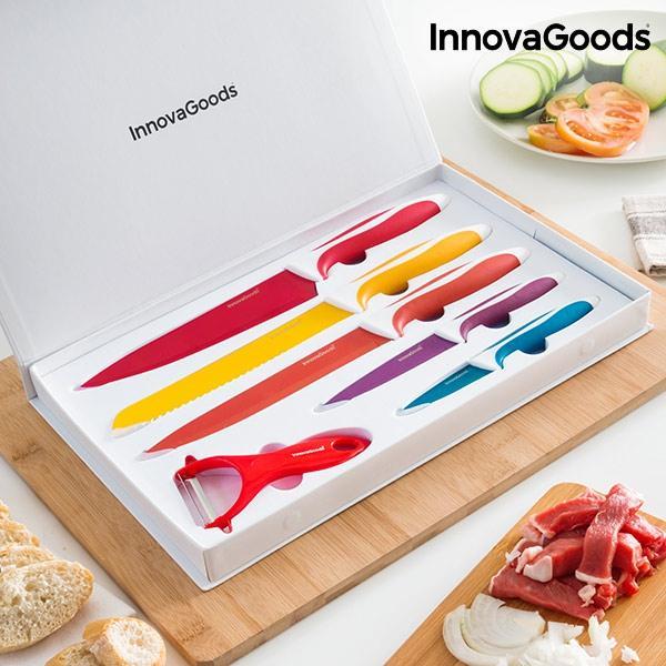 Juego de cuchillos ceramicos y pelador innovagoods 6 piezas