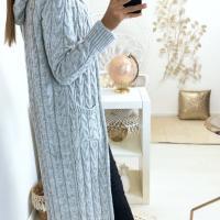 Magnifique long gilet tresse en gris avec capuche et poches1