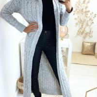 Magnifique long gilet tresse en gris avec capuche et poches4