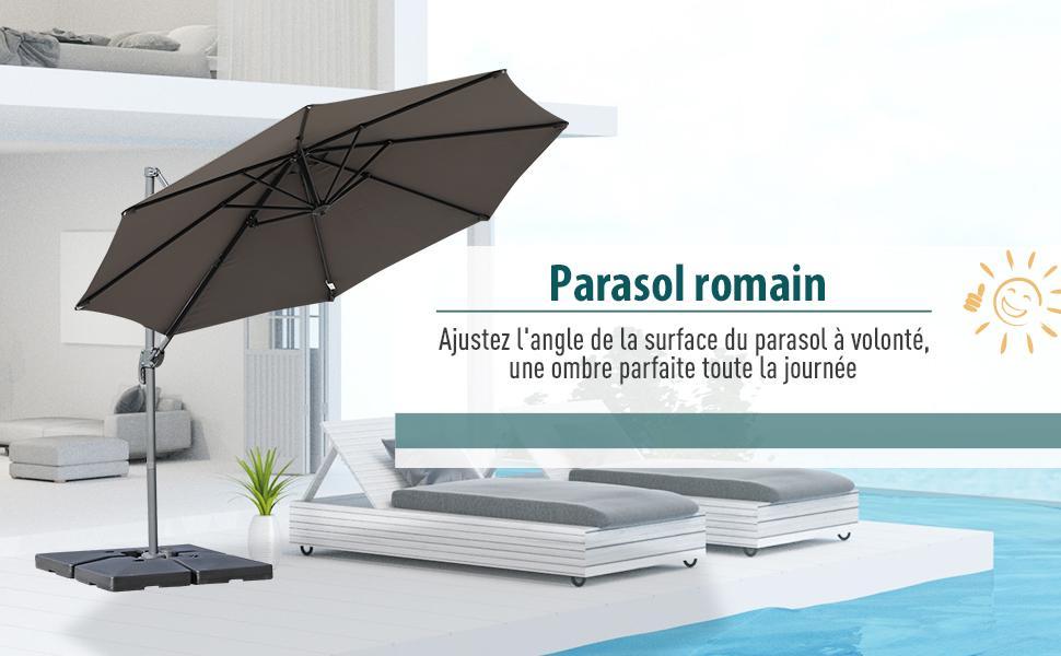 Parasol outsunny gris 7
