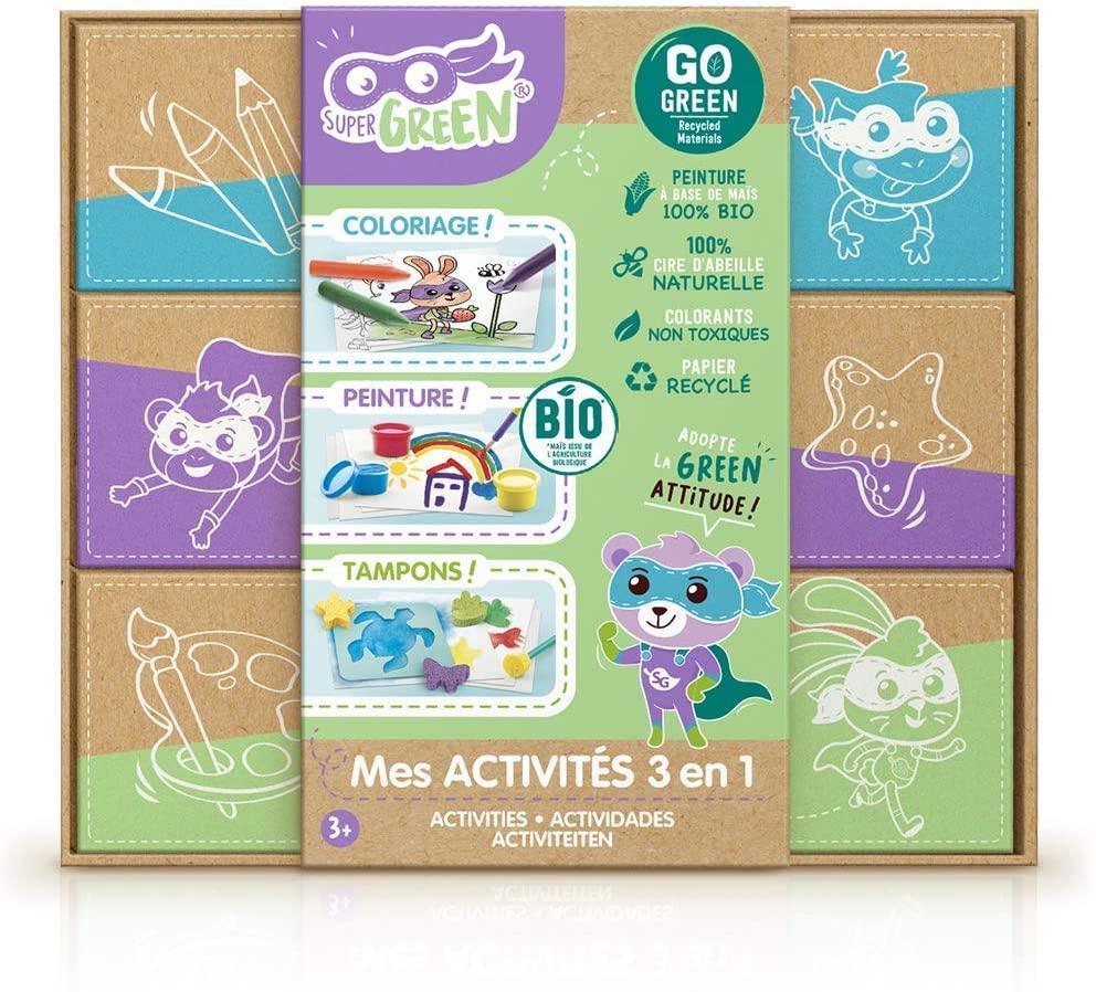 Super green kit 3 activites bio coloriage tampons peinture 6