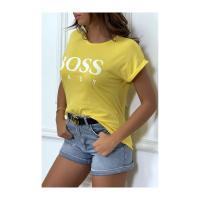 Tee shirt boss lady jaune 1