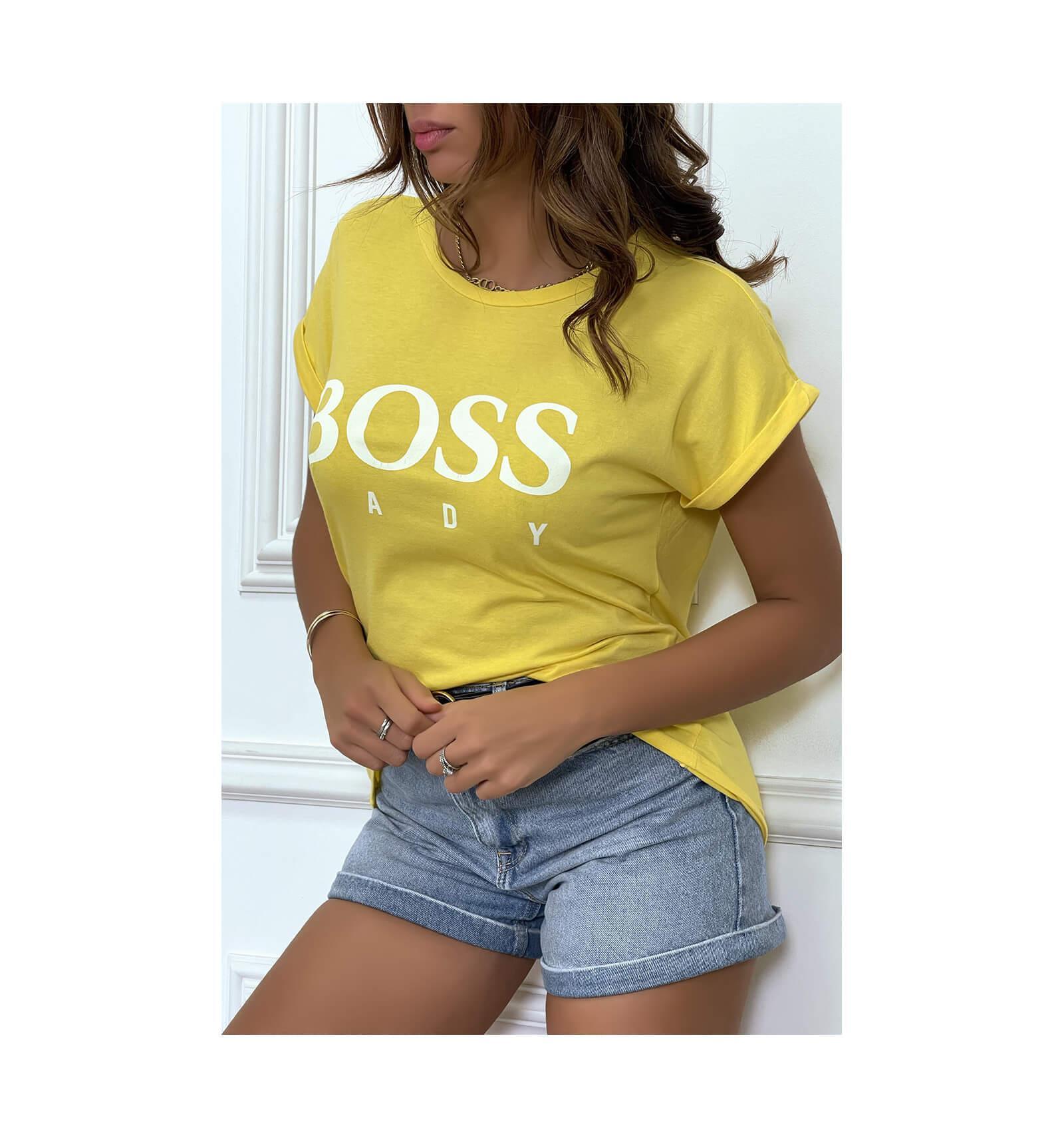 Tee shirt boss lady jaune 1 1