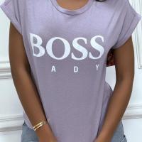 Tee shirt boss lady lilas 1