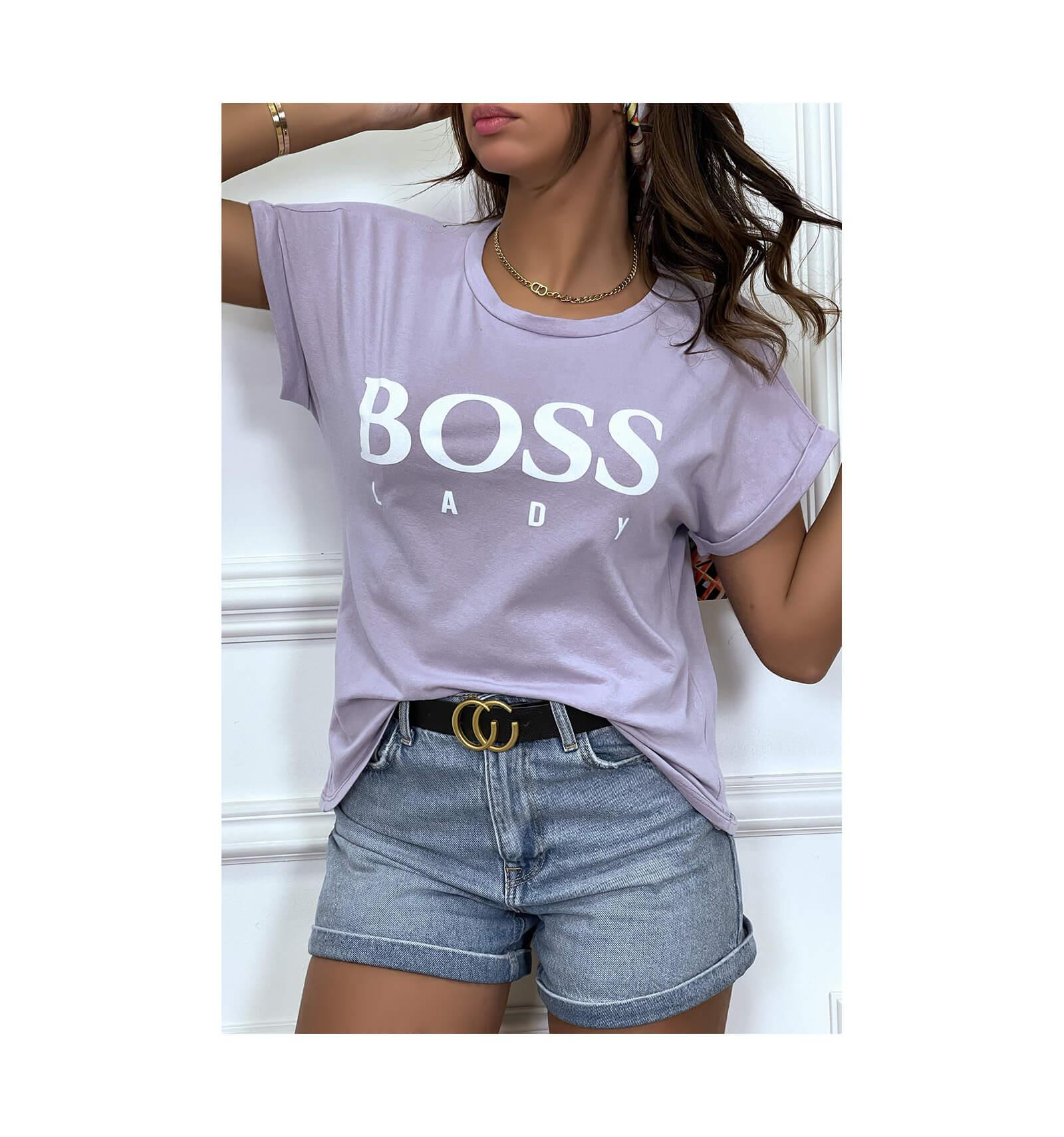 Tee shirt boss lady lilas 1 1